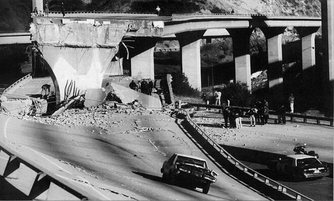 Parts of Highway 14 overpass fell onto several cars, but all of the occupants were pulled out alive (Jan. 17, 1994).